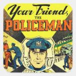 Retro Vintage Kitsch Your Friend The Policeman Square Sticker