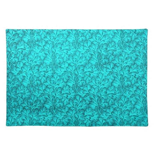 Retro Vintage Lace Leaf Teal Placemats