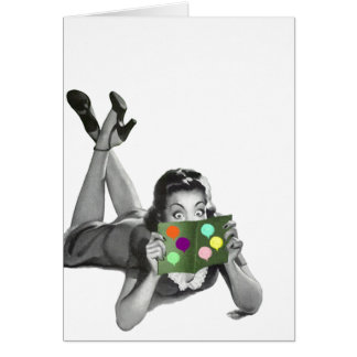 Retro Vintage Lady w/ Balloon Party Card Blank TY
