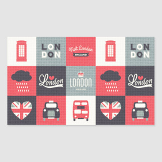 retro,vintage,London,UK,collage,twill,red,black Rectangular Sticker