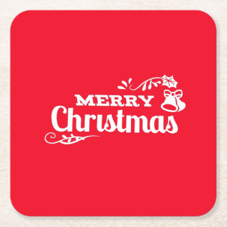 Retro Vintage Merry Christmas Lettering Square Paper Coaster