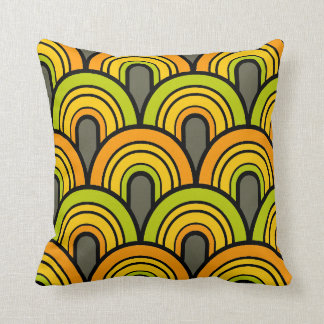 retro vintage mid century circle arches pattern 2 throw pillow