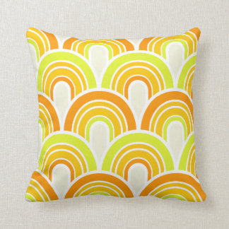 retro vintage mid century circle arches pattern throw pillow