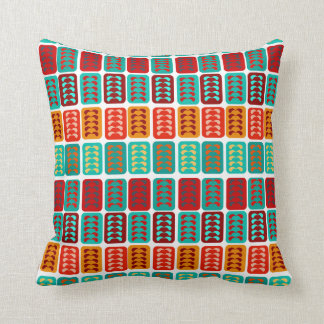 retro vintage mid century pattern red mint bricks cushion