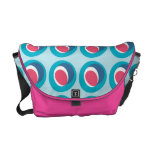 Retro Vintage Mod Abstract - Turquoise and Pink Courier Bags