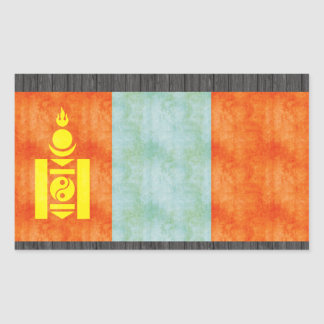 Retro Vintage Mongolia Flag Rectangular Sticker