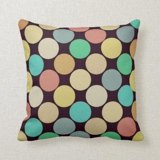 Retro Vintage Multicolored Circles Pattern Throw Pillows
