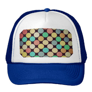 Retro Vintage Multicolored Circles Pattern Mesh Hat