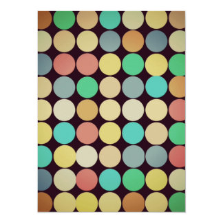 Retro Vintage Multicolored Circles Pattern Announcements