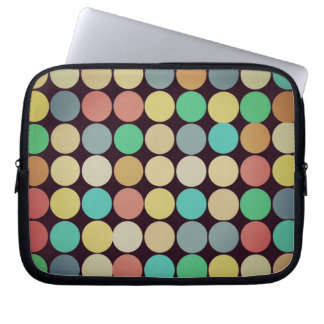 Retro Vintage Multicolored Circles Pattern Computer Sleeve