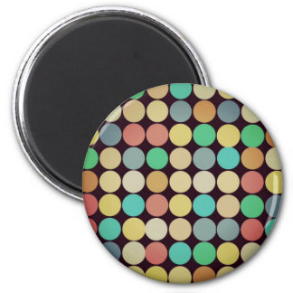 Retro Vintage Multicolored Circles Pattern Magnet