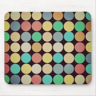 Retro Vintage Multicolored Circles Pattern Mousepad