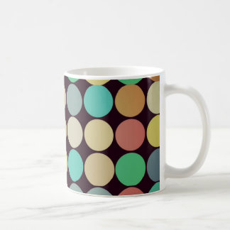 Retro Vintage Multicolored Circles Pattern Coffee Mugs