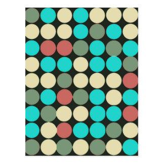 Retro Vintage Multicolored Circles Pattern Postcards