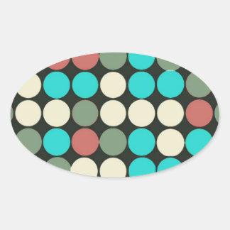 Retro Vintage Multicolored Circles Pattern Oval Sticker