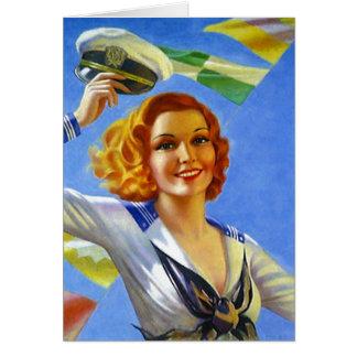 Retro Vintage Navy Sailor Pin-up Blank Note Card