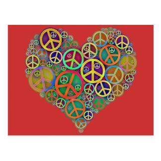 Retro Vintage Peace Heart Postcard