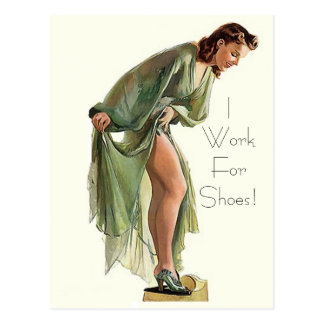 Retro Vintage Pin-up shoes I work for Postcard