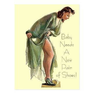 Retro Vintage Pin-up shoes Pair of Shoes Postcard