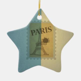Retro Vintage Postage Paris Pattern Christmas Tree Ornaments