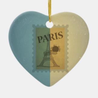 Retro Vintage Postage Paris Pattern Ornaments