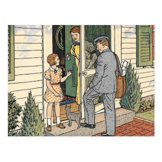 Retro Vintage Postman Book Illustration Postcard