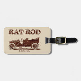 Retro Vintage Rat Rod Old School Cool Rusty Car Luggage Tag