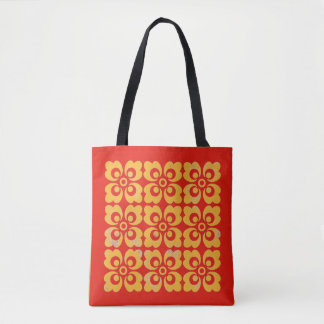 Retro Vintage red yellow abstract floral flower Tote Bag