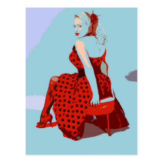 Retro Vintage Rocker Lady in Polka Dot Dress Postcard