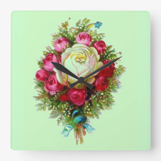 Retro Vintage Rose Bouquet Green Square Wall Clock