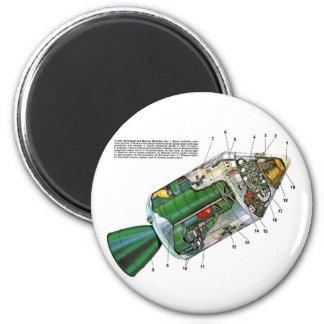 Retro Vintage Sci Fi Apollo Space Module 6 Cm Round Magnet