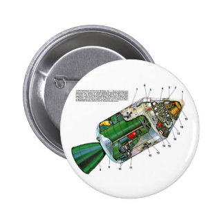 Retro Vintage Sci Fi Apollo Space Module Pinback Buttons