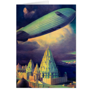 Retro Vintage Sci Fi Blimp Over Cambodia Card
