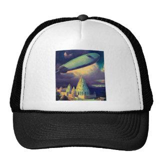 Retro Vintage Sci Fi Blimp Over Cambodia Trucker Hats