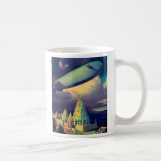 Retro Vintage Sci Fi Blimp Over Cambodia Coffee Mugs