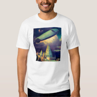Retro Vintage Sci Fi Blimp Over Cambodia T-Shirt