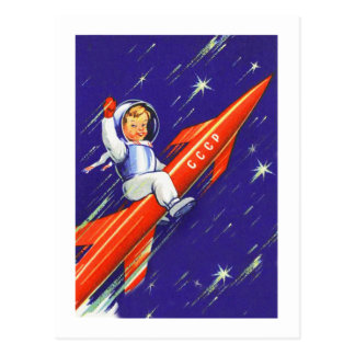 Retro Vintage Sci Fi 'Happy Little Cosmo' Postcard