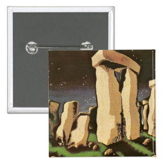 Retro Vintage Sci Fi History 'Stonehenge' Pinback Buttons