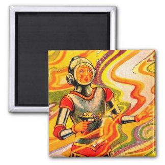 Retro Vintage Sci Fi Kitsch Space Girl Refrigerator Magnet