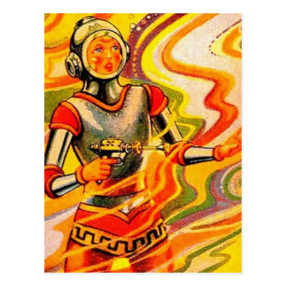 Retro Vintage Sci Fi Kitsch Space Girl Postcard