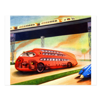 Retro Vintage Sci Fi Nazi German Bus of Future Postcard