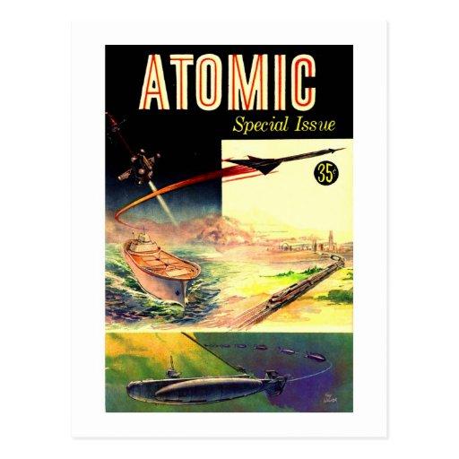Retro Vintage Sci Fi Nuclear Atomic 60's Magazine Postcards