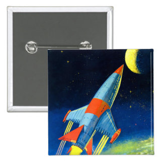 Retro Vintage Sci Fi 'Space Rocket to the Moon' Pinback Button