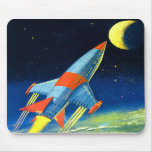 Retro Vintage Sci Fi 'Space Rocket to the Moon' Mouse Pads