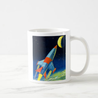 Retro Vintage Sci Fi 'Space Rocket to the Moon' Mug