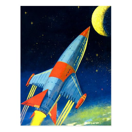 Retro Vintage Sci Fi 'Space Rocket to the Moon' Postcard