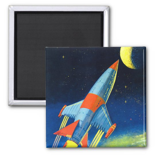 Retro Vintage Sci Fi 'Space Rocket to the Moon' Square Magnet