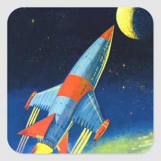 Retro Vintage Sci Fi 'Space Rocket to the Moon' Square Sticker