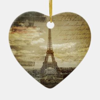 retro vintage scripts  paris Effiel Tower fashion Ceramic Heart Decoration