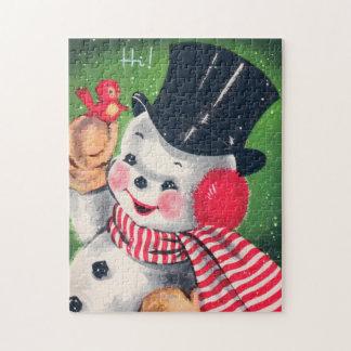 Retro Vintage snowman Holiday card puzzle